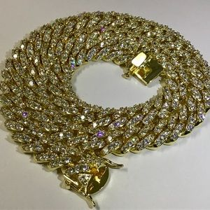 Other - 14K Gold Bonded 12mm ICY Prong Cuban Link Chain